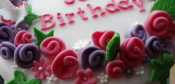 Flowery 90th cake