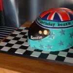 Racing helmet cake