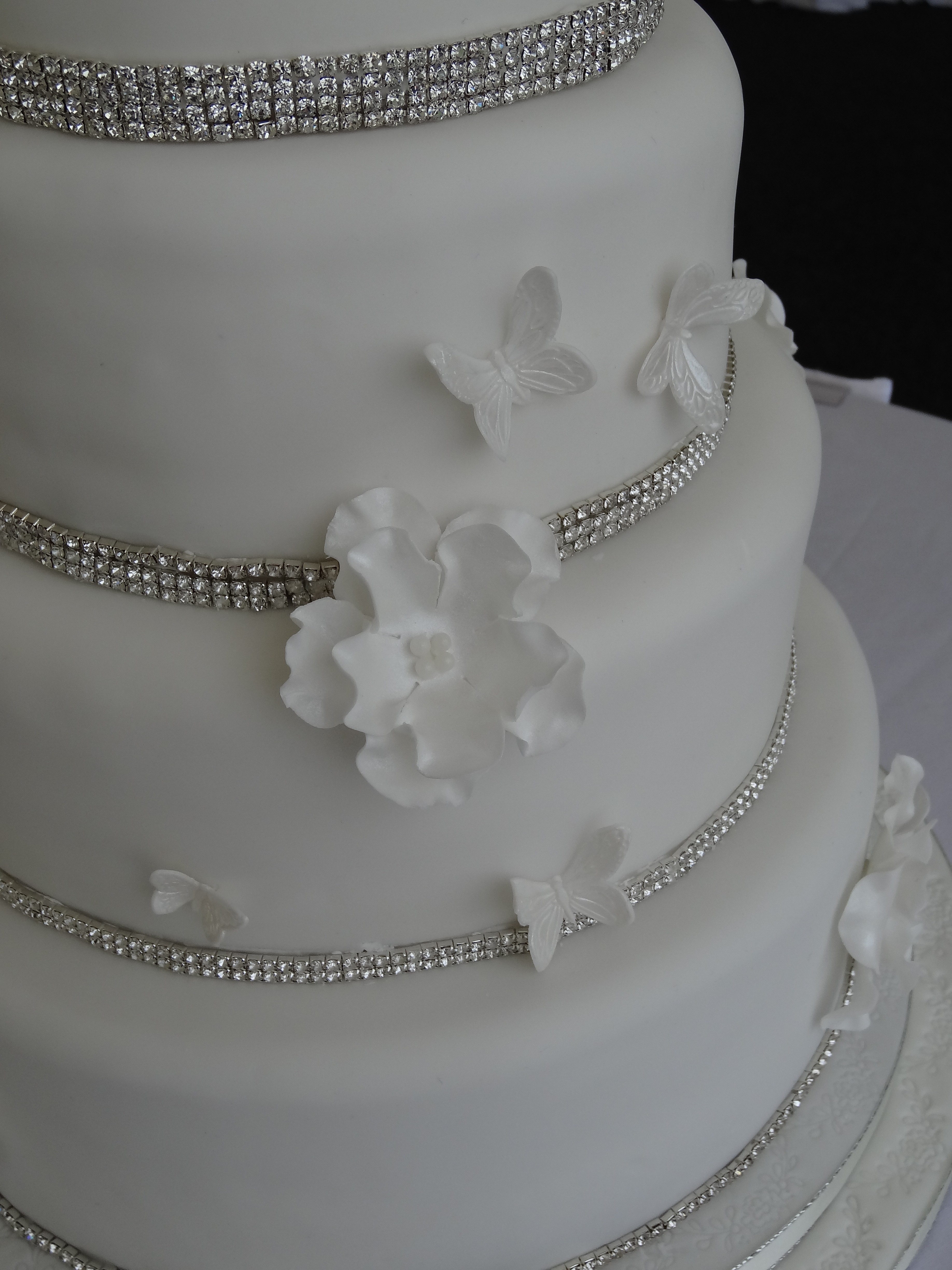 Wedding Cakes With Bling And Flowers images