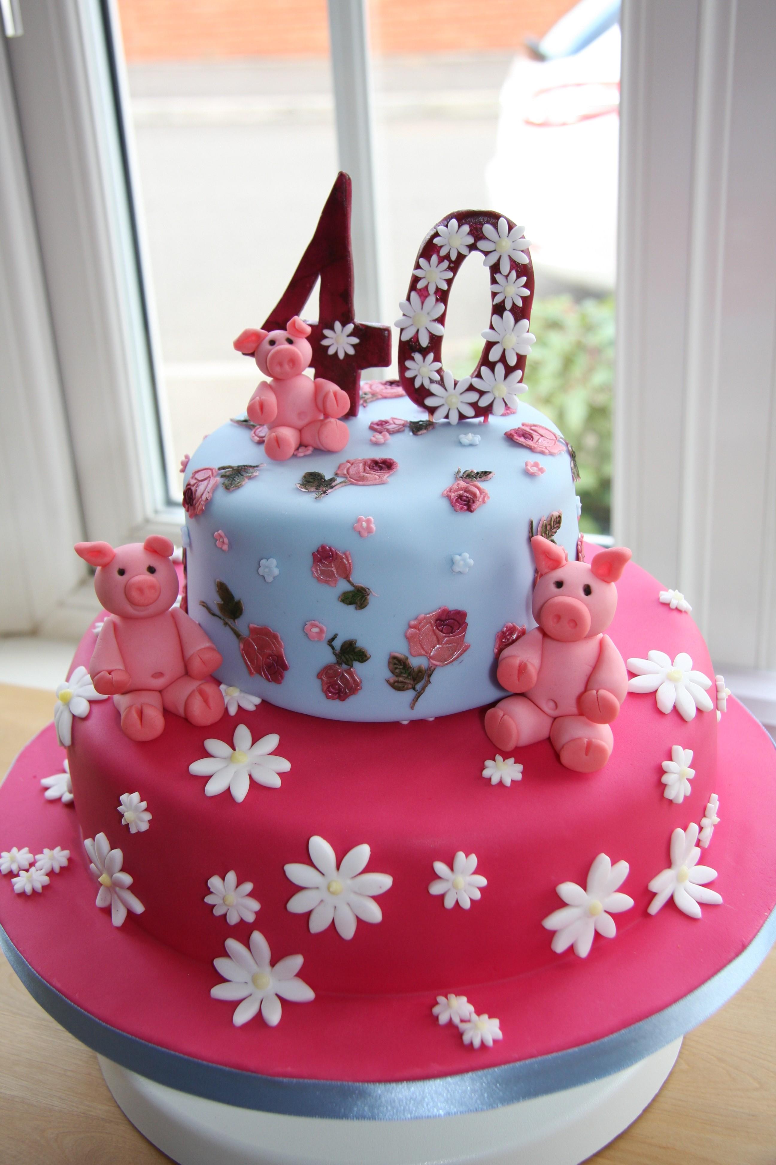 Cath Kidston Inspired 40th Birthday Cake Little Black Hen