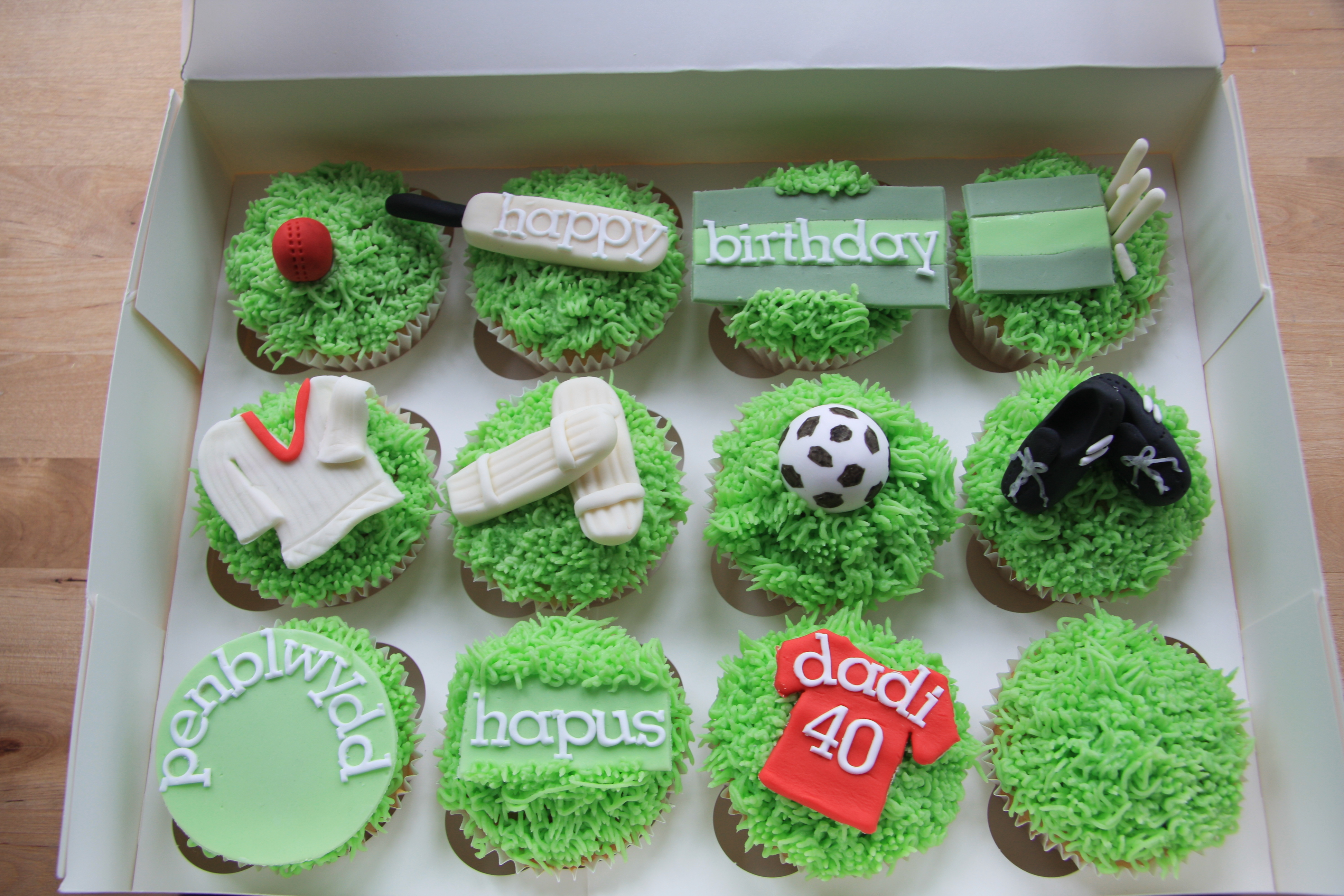 cricket and football cupcakes