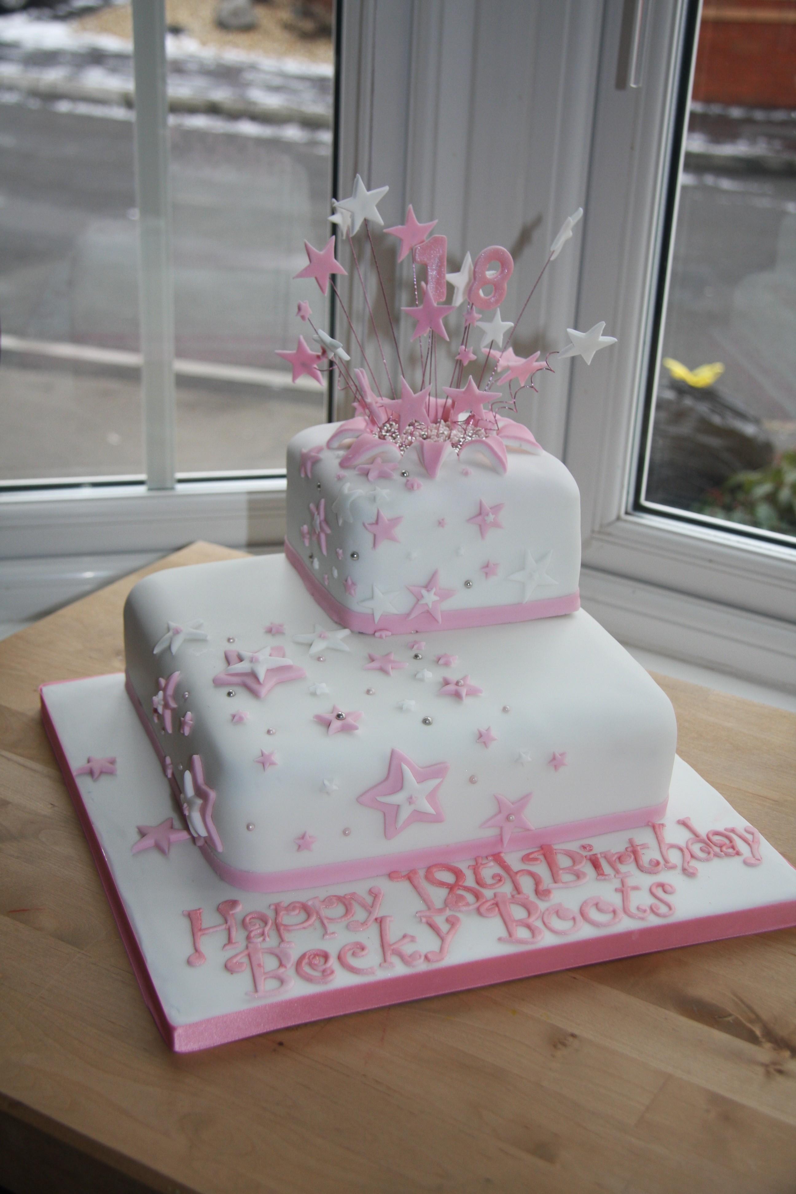 Pink Starburst 18th Cake Little Black Hen