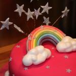 pink sparkly rainbow cake