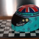 Racing helmet cake