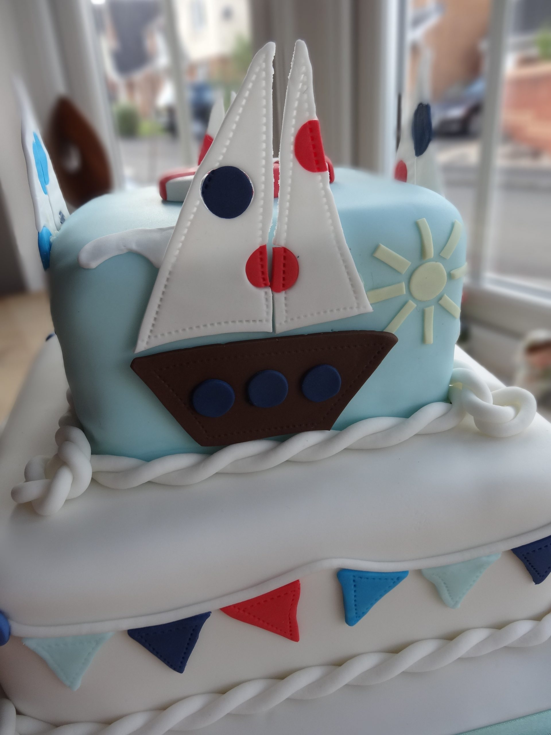 bunting and boats cake
