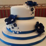 Blue flowers wedding cake