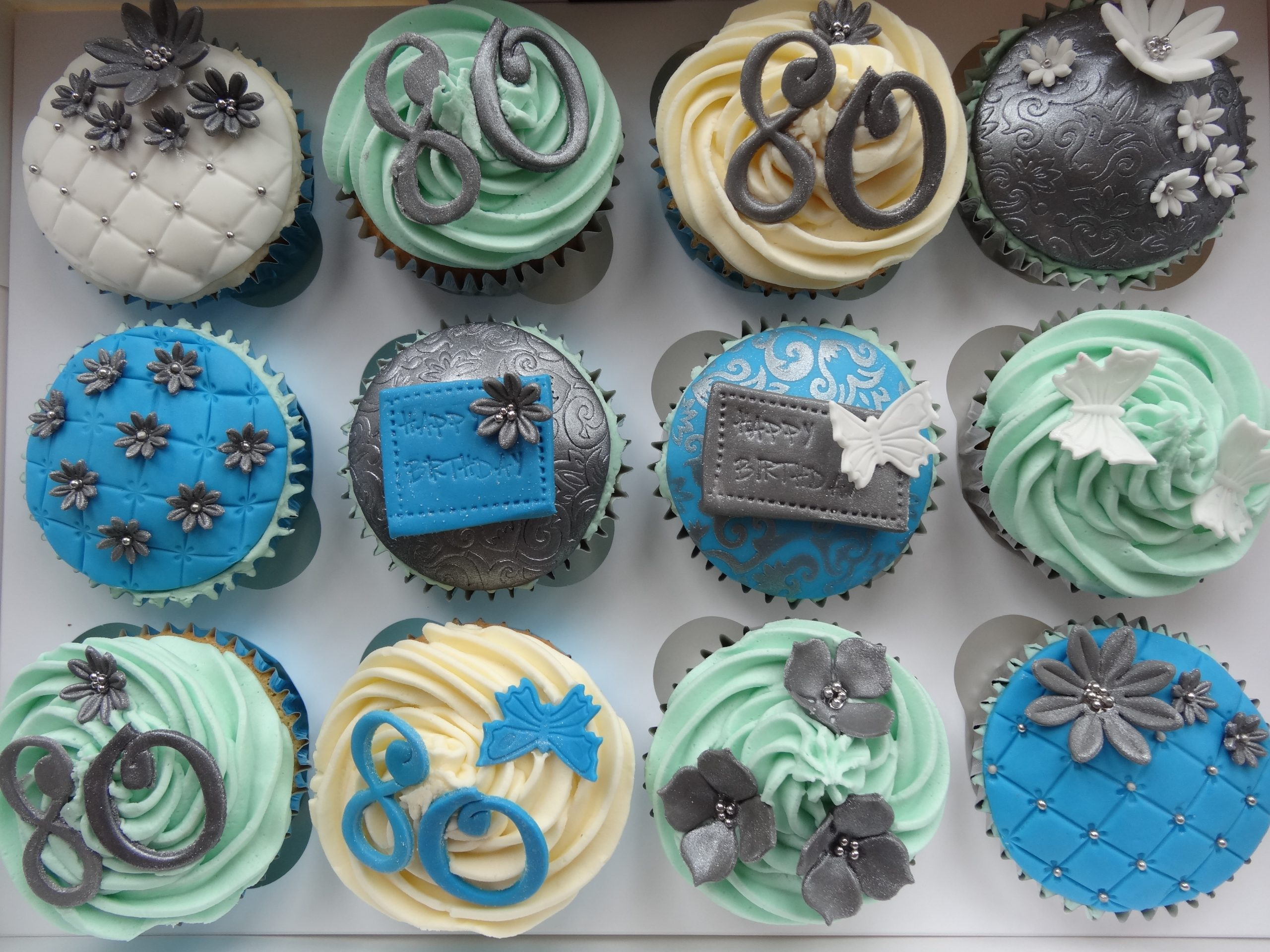 Silver and blue cupcakes