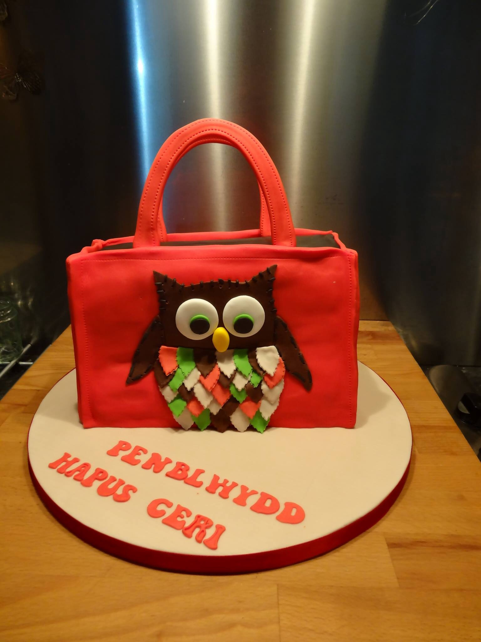 Owl handbag cake